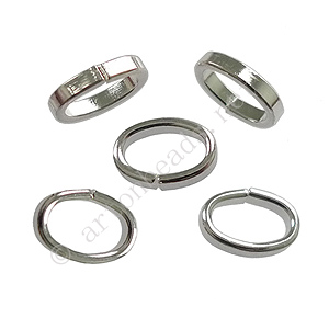 Oval Jump Ring - 925 Silver Plated - 7x10/2x1mm - 30pcs