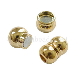Magnetic Clasp - 18k Gold Plated - ID 4mm - 2 Sets