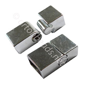 Magnetic Clasp - White Gold Plated - ID 5x10mm - 2 Sets