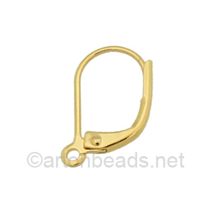 Earring Leverback - 18K Gold Plated - 15mm - 12pcs