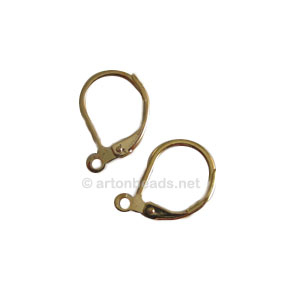 Earring Leverback - 18K Gold Plated - 15mm - 50pcs