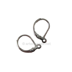 Earring Leverback - White gold plated - 15mm - 50pcs