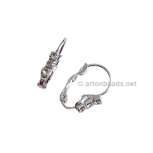 Earring Leverback - White Gold Plated - 20mm - 2pcs