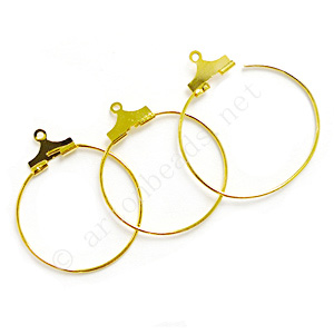 Earring Hook - 18k Gold Plated - 25mm - 50pcs