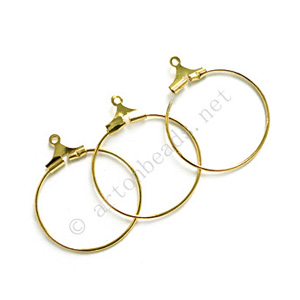 Earring Hook - 18k Gold Plated - 20mm - 48pcs
