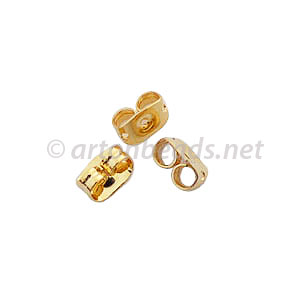 Earring Back - 18k Gold Plated - 4.5x6mm - 100pcs