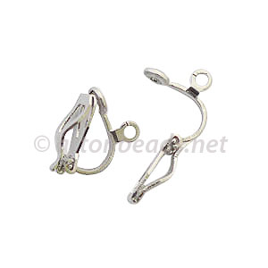 *Clip On Earring - White Gold Plated - 13x8.7mm - 16pcs