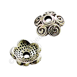 Bead Cap - Antique Silver Plated - 3x8mm - 50pcs