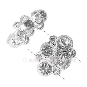 Rhinestone Divider - 925 Silver Plated-2 Holes-15.2x11.2mm-4pcs