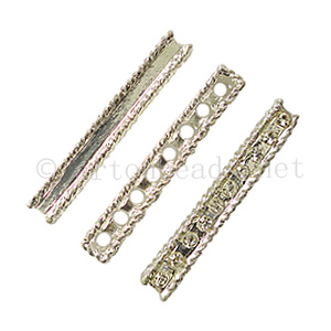 Rhinestone Divider - 925 Silver Plated - 8 Holes - 5x42mm-3pcs