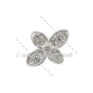 Rhinestone Divider - 925 Silver Plated - 2 Holes - 19x16mm-4pcs