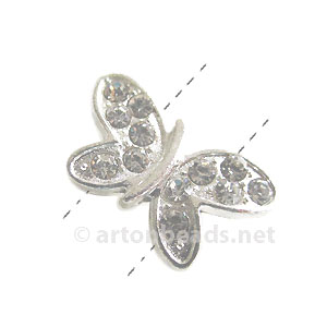 Rhinestone Divider - 925 Silver Plated-2 Holes-20.8x12.4mm-4pcs