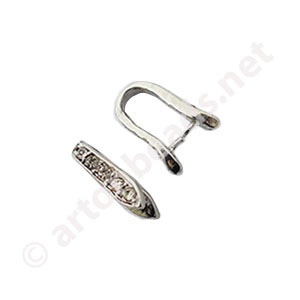 Bail With Rhinestone - White Gold Plated - 14.3mm - 2pcs