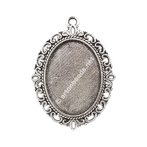 Pendant Setting - Antique Silver Plated - 18x25mm - 4pcs