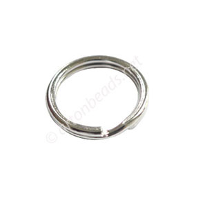 Key Ring - White Gold Plated - 15mm - 100pcs