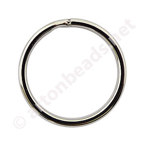 Key Ring - White Gold Plated - 36mm - 8pcs