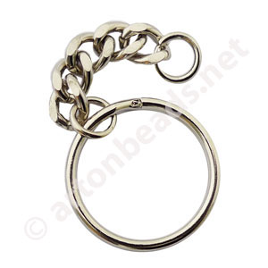 *Key Chain - White Gold Plated - 25mm - 10pcs