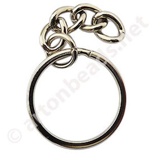 *Key Chain - White Gold Plated - 30mm - 100pcs