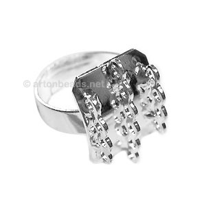 Ring Base 925 Silver Plated - Adjustable - 17x14mm - 3pcs