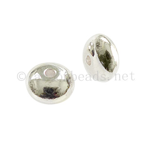Base Metal Spacer Bead - 925 Silver Plated - 4.3x7.1mm - 30pcs