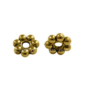 Base Metal Spacer Bead - Antique Gold Plated - 6mm - 80pcs