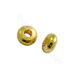 Base Metal Spacer Bead - 18k Gold Plated - 4mm - 80pcs