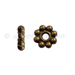 Base Metal Spacer Bead - Antique Brass Plated-6mm-70pcs