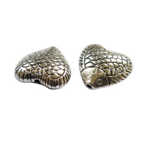 Metal Bead - Antique Silver Plated - 16x16mm - 4pcs