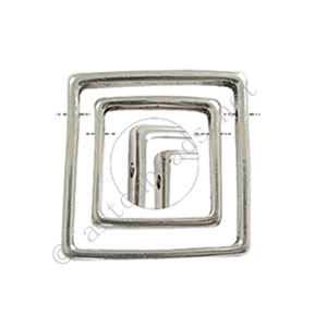 Bead Frame - Side-drilled - Antique Silver Plated - 26.4/18.5mm