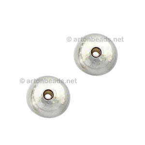 Brass Base Beads - White Gold Plated - 6mm - 70pcs