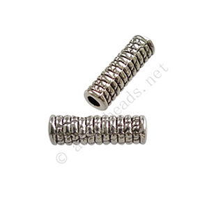 Tube/Bead - Antique Silver Plated - ID 2x14mm - 20pcs