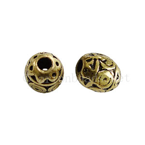 Metal Bead - Antique Brass Plated - 6.7x5.6mm - 10pcs