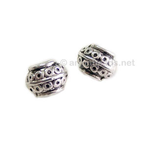 Metal Bead - Antique Silver Plated - 6.8x8.9mm - 20pcs