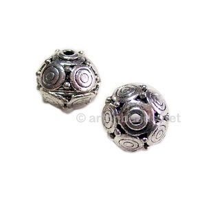 Metal Bead - Antique Silver Plated - 13.2x14.6mm - 6pcs