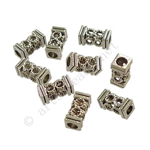 Tube/Bead - Antique Silver Plated - ID 2.4mm - 20pcs