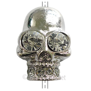 Metal Skull Bead With Crystal - White Gold Plated - 25x40mm-1pc
