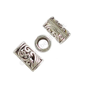 Tube/Bead - Antique Silver Plated - ID 3mm - 25pcs