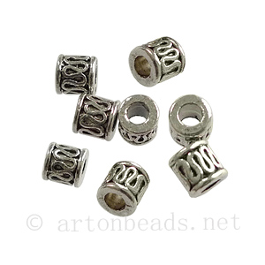Tube/Bead - Antique Silver Plated - ID 2.3mm - 40pcs
