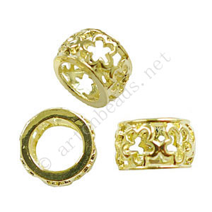 Large Hole Metal Bead - 18k Gold Plated - ID 7.6mm - 6pcs