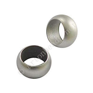 Large Hole Metal Bead - Matte White Gold Plated - ID 8mm - 6pcs