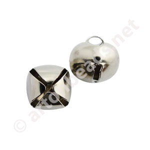 Bell - White Gold Plated - 15mm - 10pcs