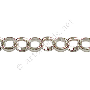*Chain(8.0BLS) - White Gold Plated - 8.0mm - 1m