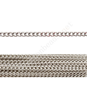 Chain(160SF) - White Gold Plated - 2x2mm - 2m