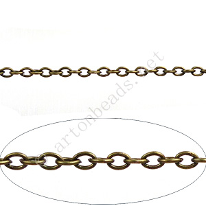 Chain(J0.6+) - Antique Brass Plated - 2.1x2.9mm - 2m