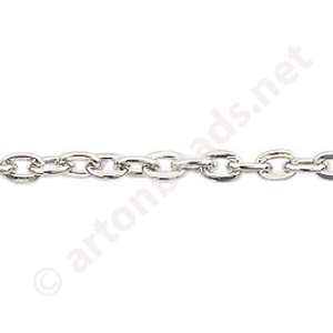 Chain(Y2109) - White Gold Plated - 3.3x4.7mm - 2m