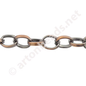 *Chain(Y1811) - Antique Copper Plated - 6.1x7.6mm - 1m