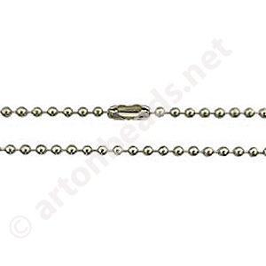 Ball Chain with Clasp-White Gold Plated(2.40mm)-3m-1pc