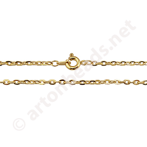 "Link Chain with Clasp-18K Gold Plated(2.3x3.3mm)-18""-2pcs"