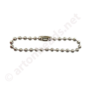 "Ball Chain with Clasp-White Gold Plated(2.40mm)-4""-100pcs"