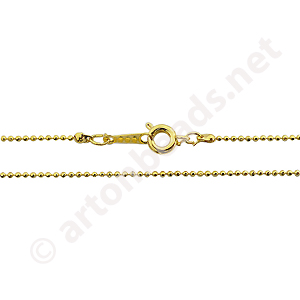 "*Ball Chain with Clasp-18K Gold Plated(1.2mm)-16""-2pcs"